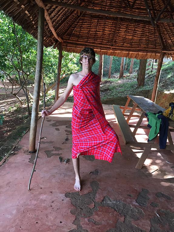 Volunteer in Masai Shuka at Paradise Lost in Kenya