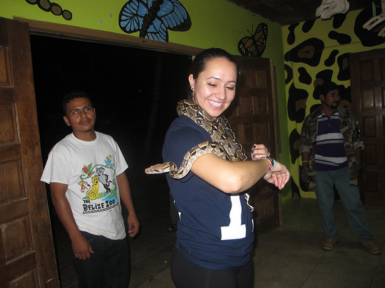 Holding a Snake in Belize