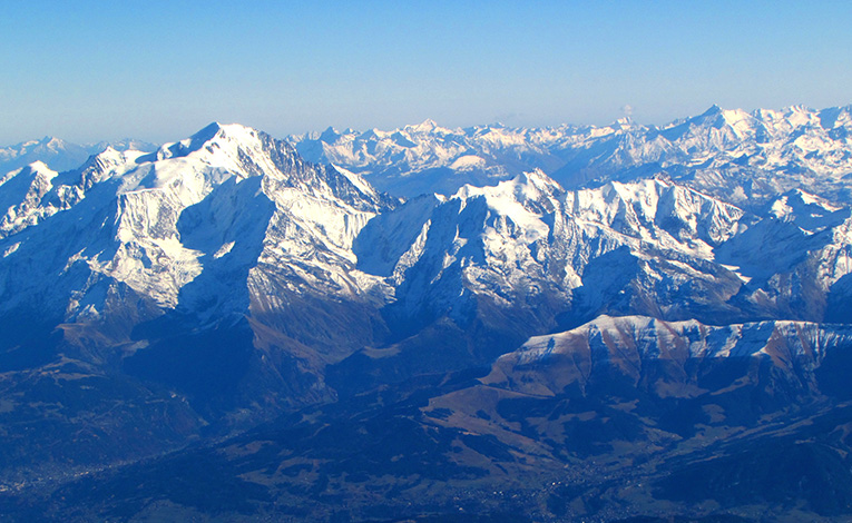 View of the Swiss Alps from the air