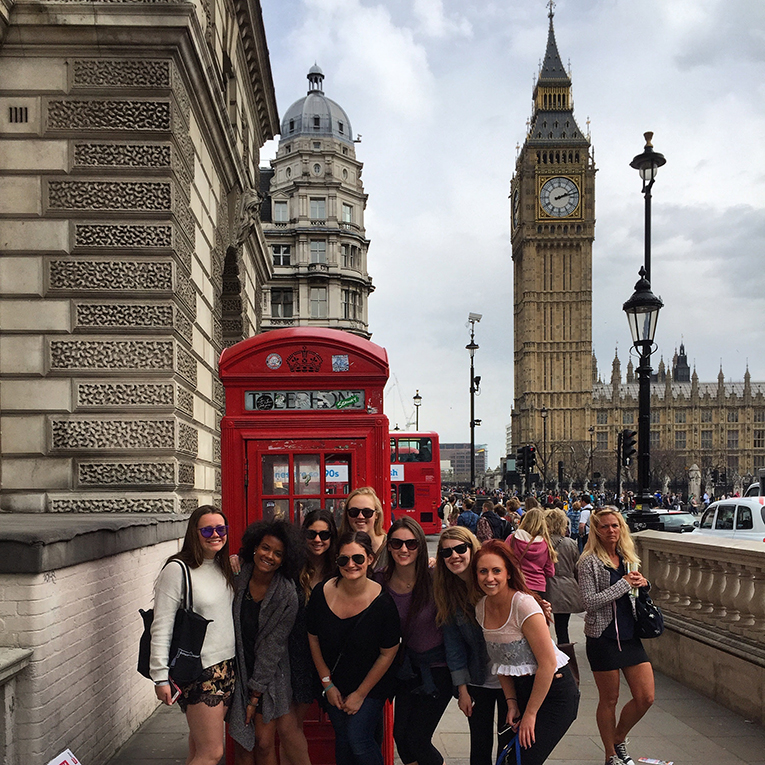 Study abroad students near Big Ben in London, England