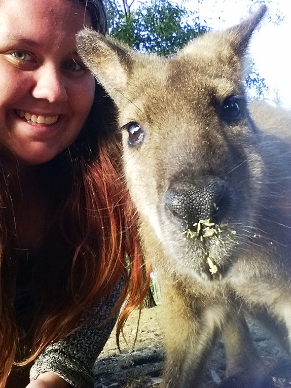 Selfie with a wallaby in Australia