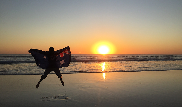 Sunset on the beach in Gold Coast, Australia