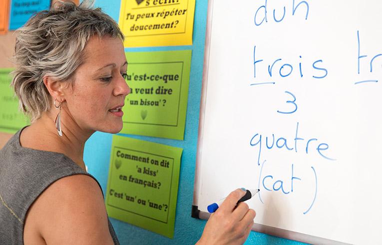 Teacher teaching French