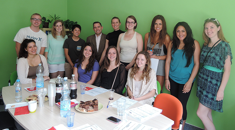 CEA Study Abroad international internship course participants and instructor