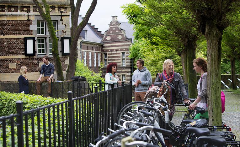 Dutch students talking in Maastricht, Netherlands