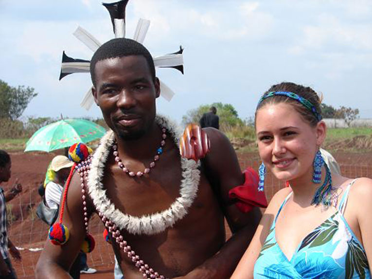 Volunteer in Swaziland with a local reed dancer