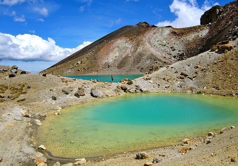 The Emerald Lakes in Tongariro National Park, North Island, New Zealand
