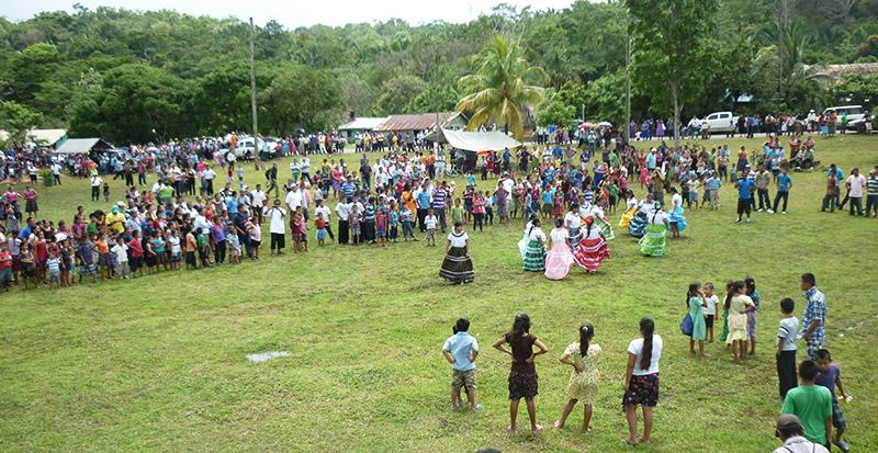 Maya communities and children gathering at Indian Creek Toledo in Belize