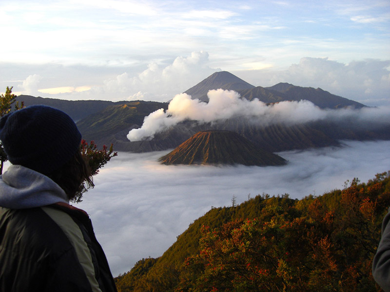 The view of Mount Bromo on the island of Java in Indonesia