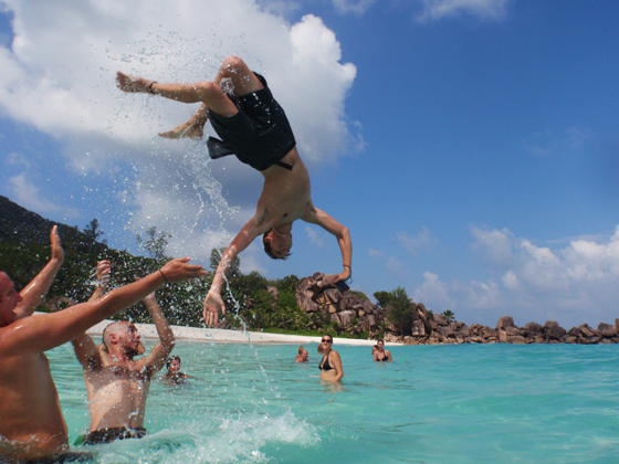 magnificent backflip in the beach