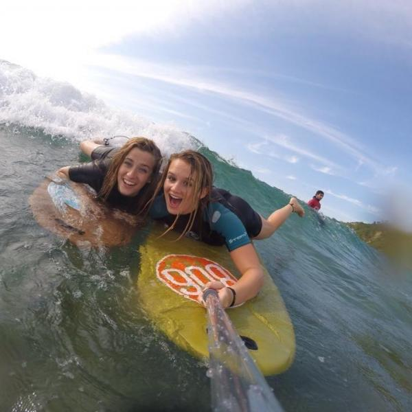SPI Study Abroad students surfing