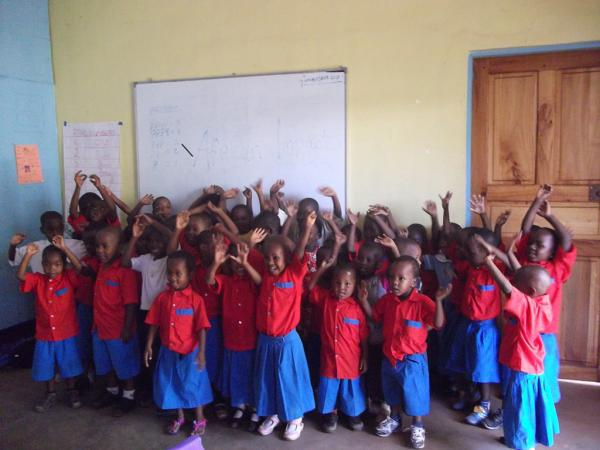 Children actively participating in class