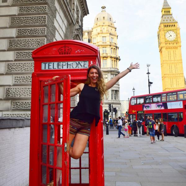Phone Booth, London, England, British, Britain, United Kingdom, UK, Teen Travel, Big Ben, Double decker bus