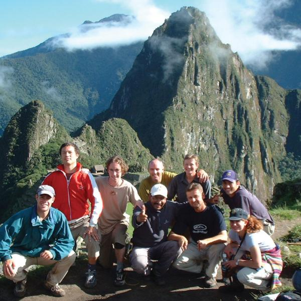 Students posing at Machu Picchu