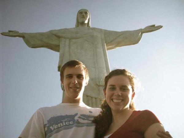 Tourists in front of Christ the Redeemer statue in Brazil