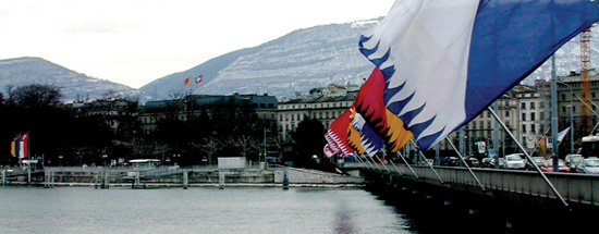 flags on the river in geneva