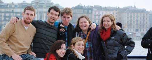 geneva study abroad students on a boat