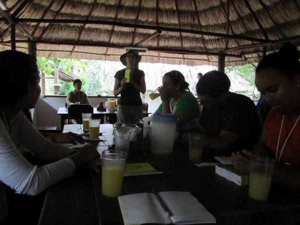 Classes under a Belizean palapa