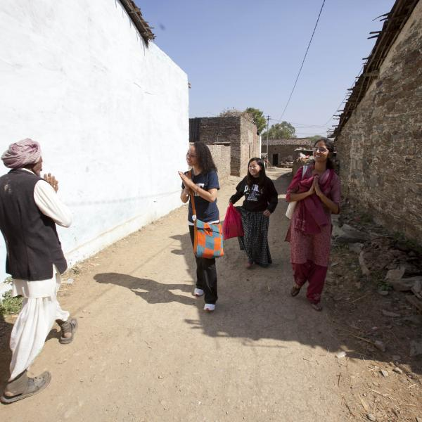 Duke Semester in India students visit a rural village