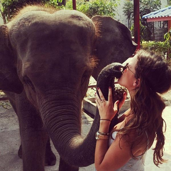 Lindsay visiting the rescued elephant sanctuary during TESOL course in Hua Hin