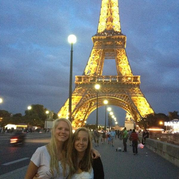 exchange sisters at the Eiffel Tower