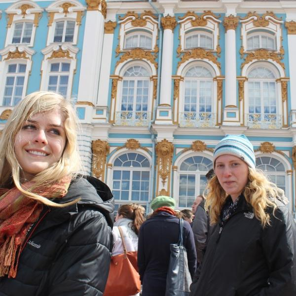 Russia program participant on a tour of historic building
