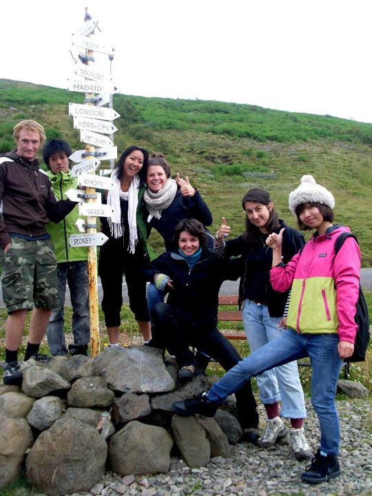 A group of international volunteers on an environmental project in Iceland.