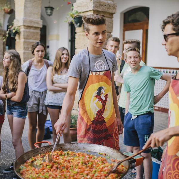 Pre-AP students preparing paella in Cadiz, Spain