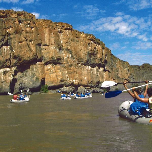 tourists on kayak