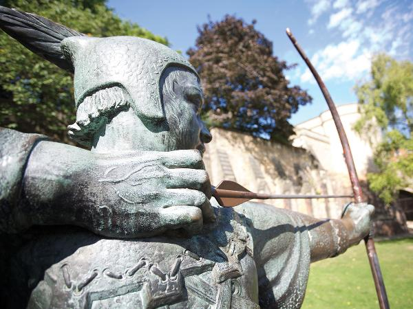 Robin Hood statute at Nottingham Castle