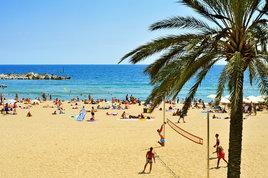 Barceloneta beach in the summer