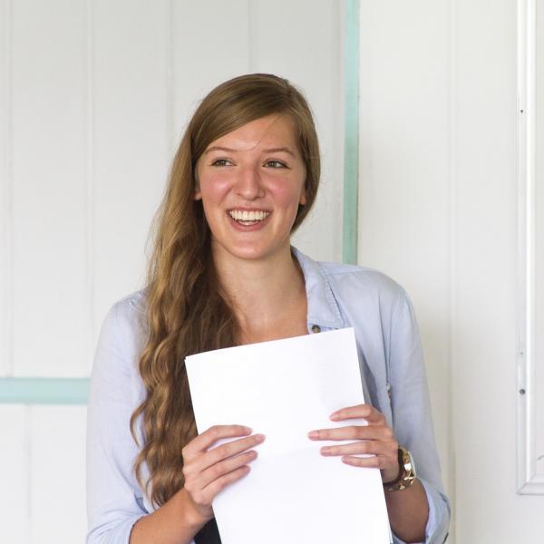 Marketing intern giving her final presentation