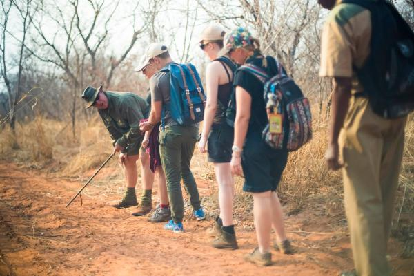 Volunteers learning about wildlife conservation