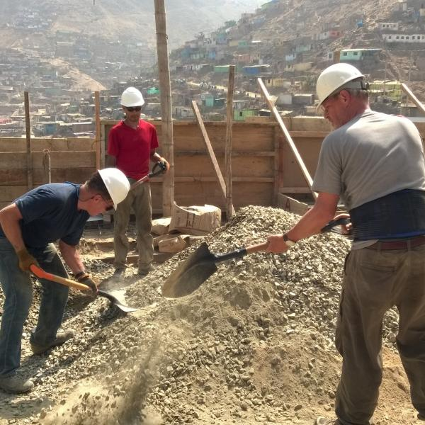 Work with local people on labor projects in Peru