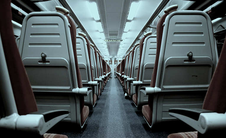 Aisle between seats on a train