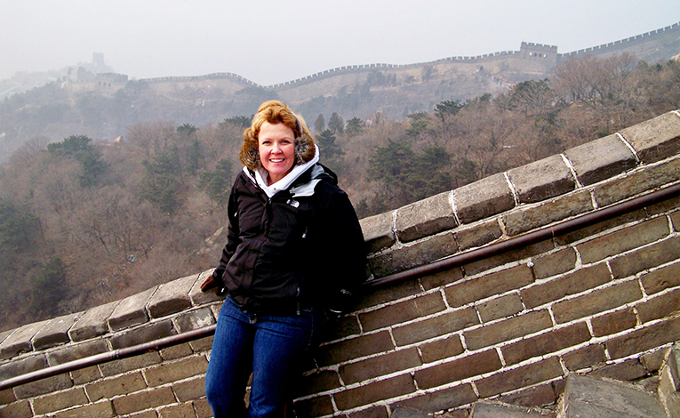 June Lee on the Great Wall in China