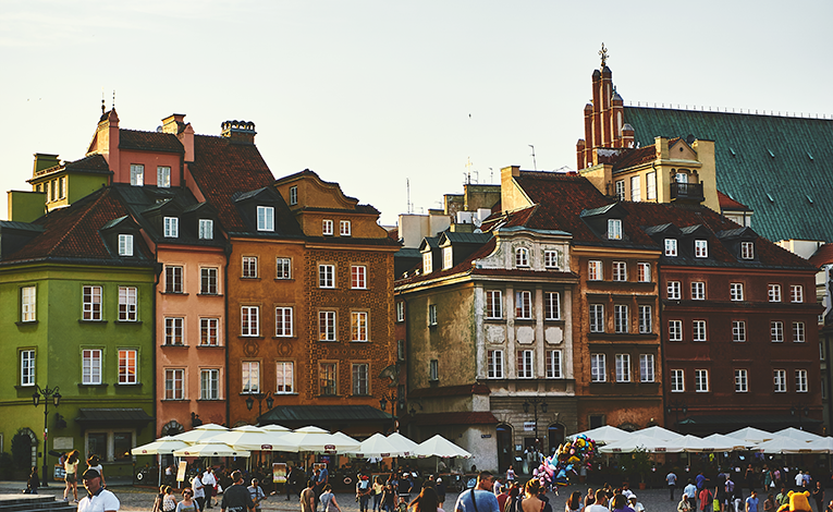Colorful buildings in Warsaw, Poland