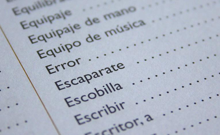 Spanish vocabulary list