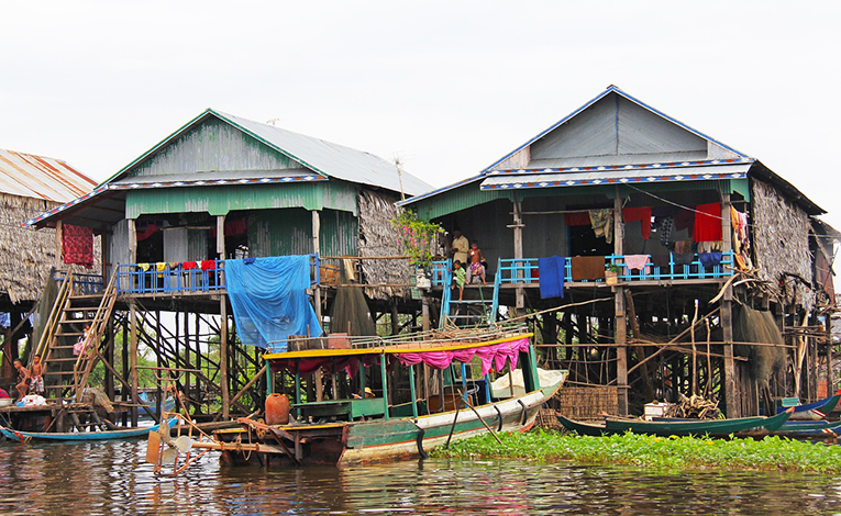 Homes in Cambodia along a river