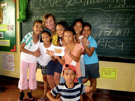 Erica with her Elementary Students in the Philippines
