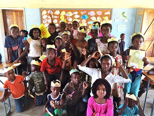 Elementary students in Zambia