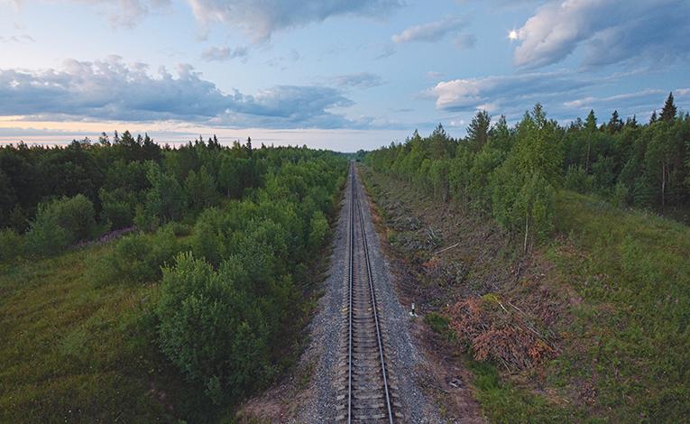 railroad through kholmorgorisky rayon, Russia