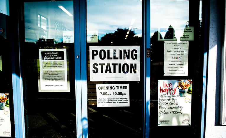 Door to a polling station