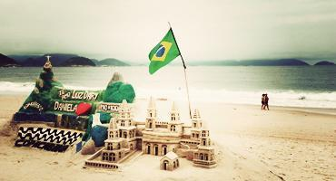 A sand castle on a beach in Brazil