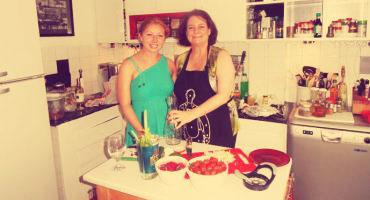 A student cooks with her host mother in Turkey