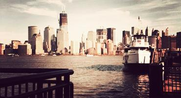 A view of New York City skyline enroute to Ellis Island in the United States