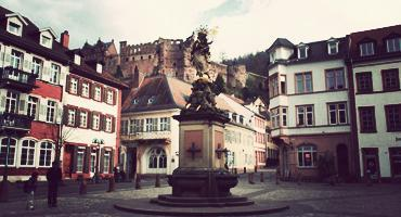 The grain market Madonna fountain sculpture in Heidelberg, Germany