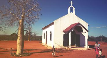Small white church in Madagascar
