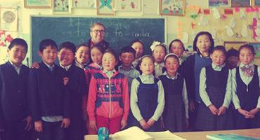 English teacher with students in Mongolia