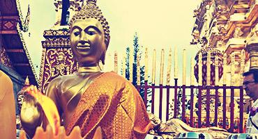 Buddha statues at Doi Suthep Temple, one of the most important temples in Thailand.